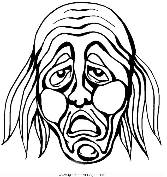 hexenmaske 1 gratis malvorlage in feste, karneval - ausmalen