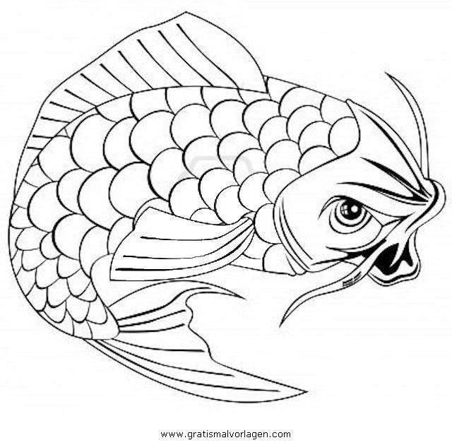 Karpfen koi 1 gratis Malvorlage in Fische, Tiere - ausmalen