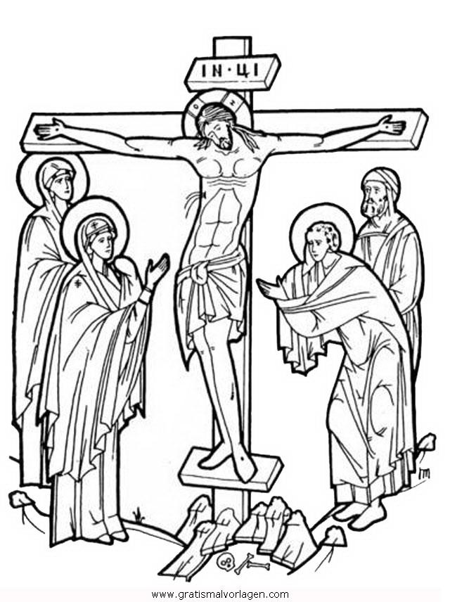 kreuzigung 3 gratis malvorlage in jesus religionen  ausmalen