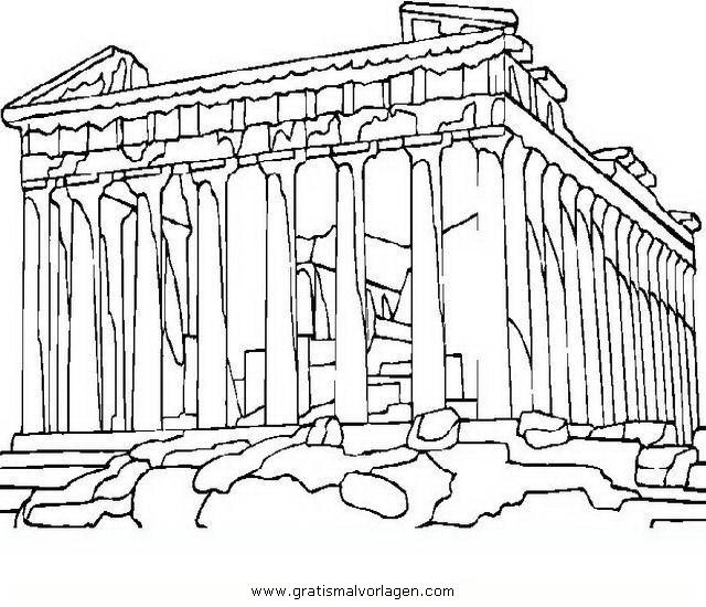 Akropolis in Athen gratis Malvorlage in Antikes Griechenland ...