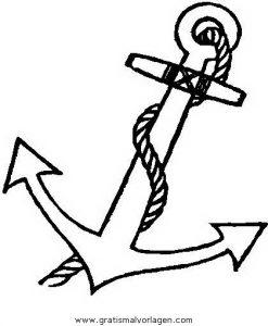 Anker 3 Gratis Malvorlage In Schiffe, Transportmittel - Ausmalen