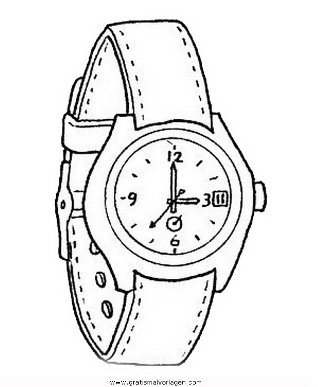 Armbanduhr ausmalbild  armbanduhr 1 gratis Malvorlage in Diverse Malvorlagen, Kleidung ...