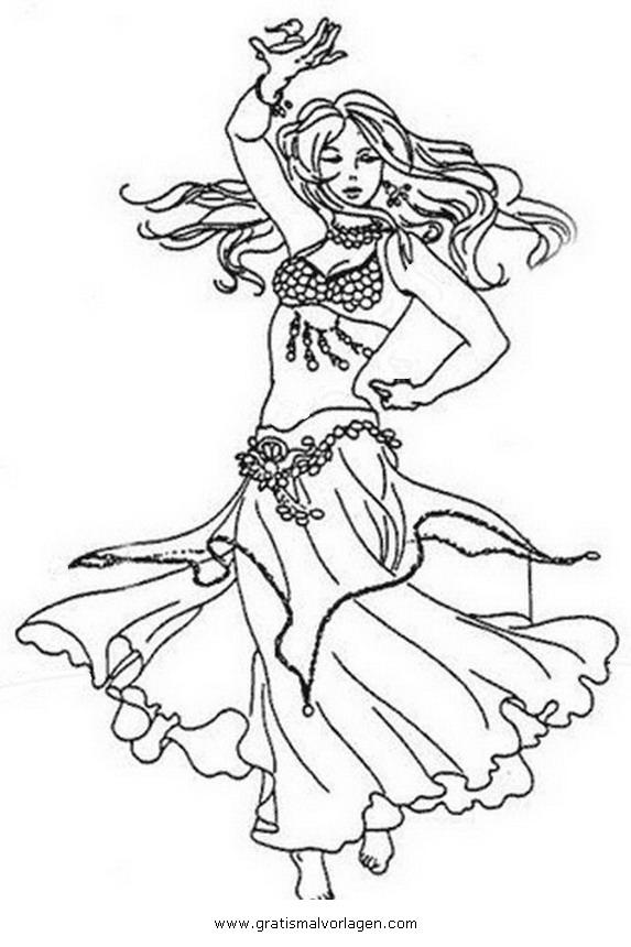 Bauchtanz Belly Dancer 3 Gratis Malvorlage In Sport Tanz