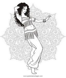 Malvorlage Tanz bauchtanz belly dancer 4
