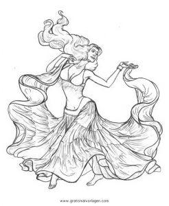 Malvorlage Tanz bauchtanz belly dancer 6