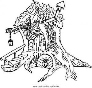 Baumhaus 2 Gratis Malvorlage In Diverse Malvorlagen Häuser Ausmalen