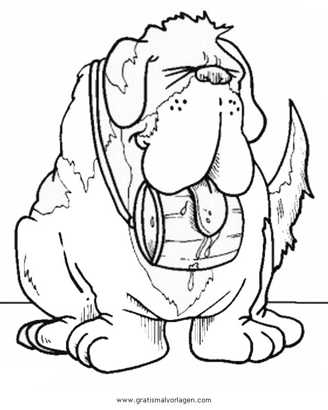 bernhardiner 2 gratis Malvorlage in Hunde, Tiere - ausmalen