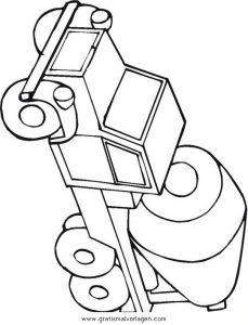 Malvorlage Baumaschinen betonmischer 1