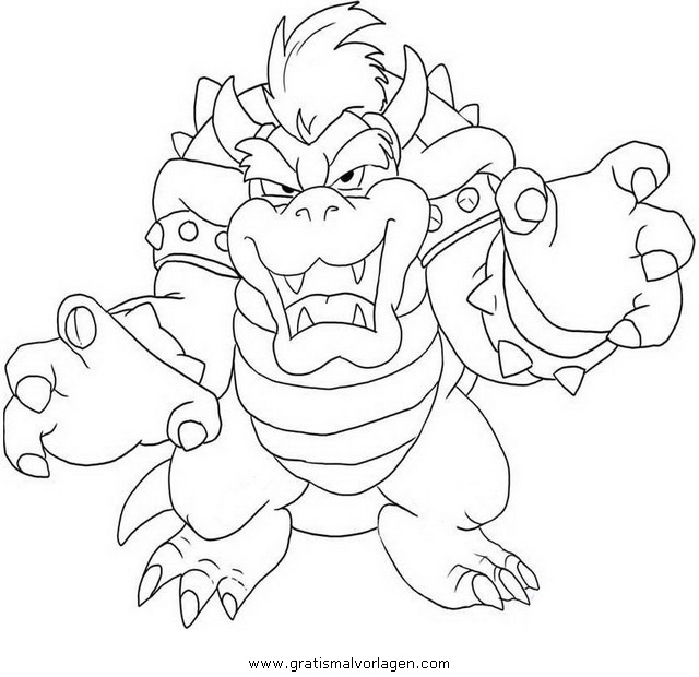 Bowser 5 gratis malvorlage in comic trickfilmfiguren for Disegni da colorare super mario bros