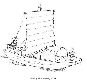 Malvorlage China Chinesisches Boot