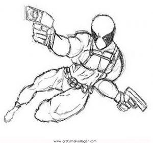 Deadpool 2 Gratis Malvorlage In Comic Trickfilmfiguren Deadpool