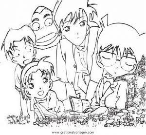 Detective Conan 16 Gratis Malvorlage In Comic Trickfilmfiguren Detektiv Conan Ausmalen