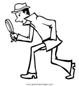 Detektiv 3 Gratis Malvorlage In Comic Trickfilmfiguren Detektiv