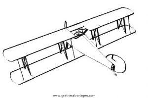 Doppeldecker 1 Gratis Malvorlage In Flugzeuge Transportmittel