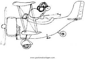 Doppeldecker 2 Gratis Malvorlage In Flugzeuge Transportmittel