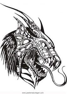 drachenkopfe 3 gratis malvorlage in drachen, fantasie