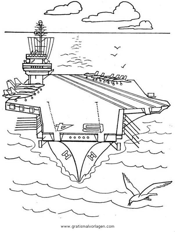 flugzeugtrager 3 gratis Malvorlage in Schiffe, Transportmittel