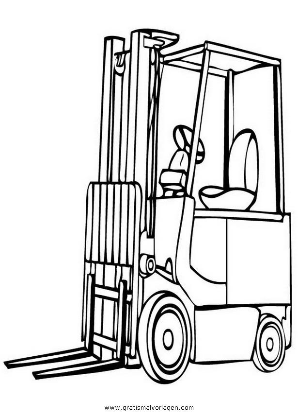 gabelstapler 3 gratis Malvorlage in Baumaschinen, Transportmittel ...