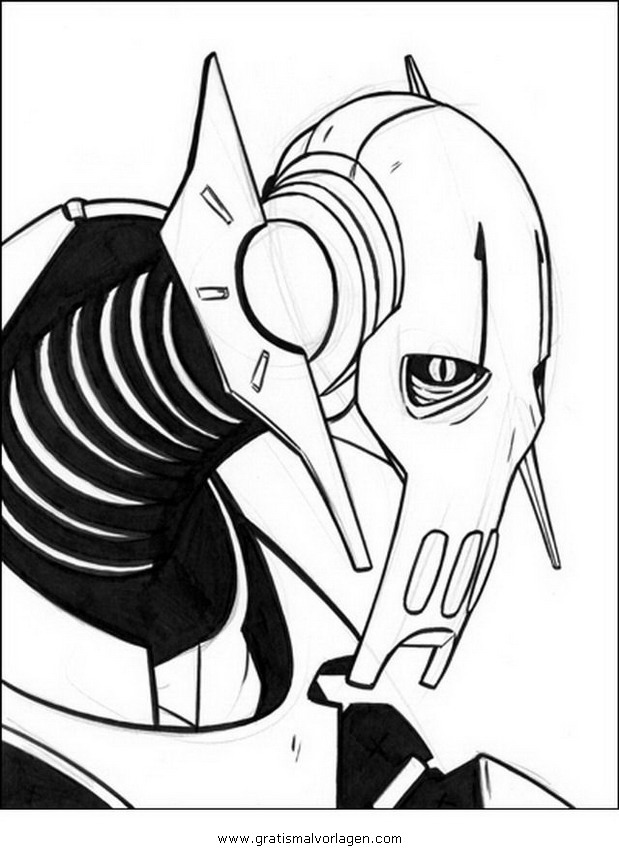 General Grievous 3 Gratis Malvorlage In Science Fiction Star Wars
