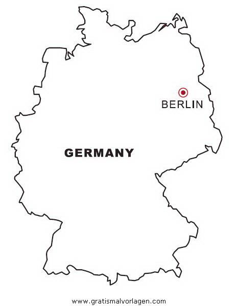 Landkarte Deutschland gratis Malvorlage in Geografie ...