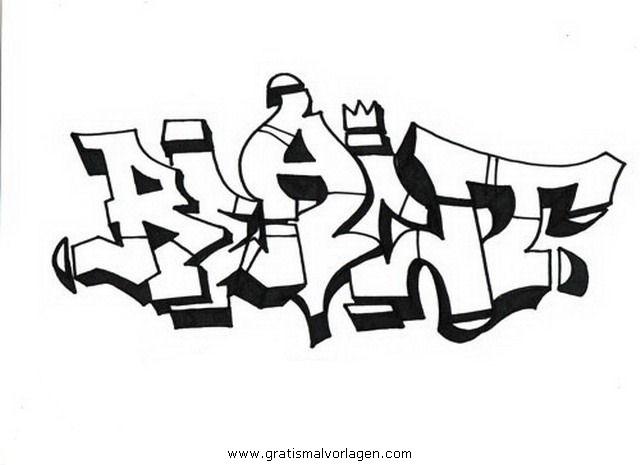 Graffiti Malvorlagen zum Ausmalen für Kinder -