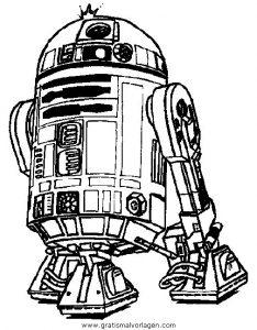 Droide R2 D2 Gratis Malvorlage In Science Fiction Star Wars Ausmalen
