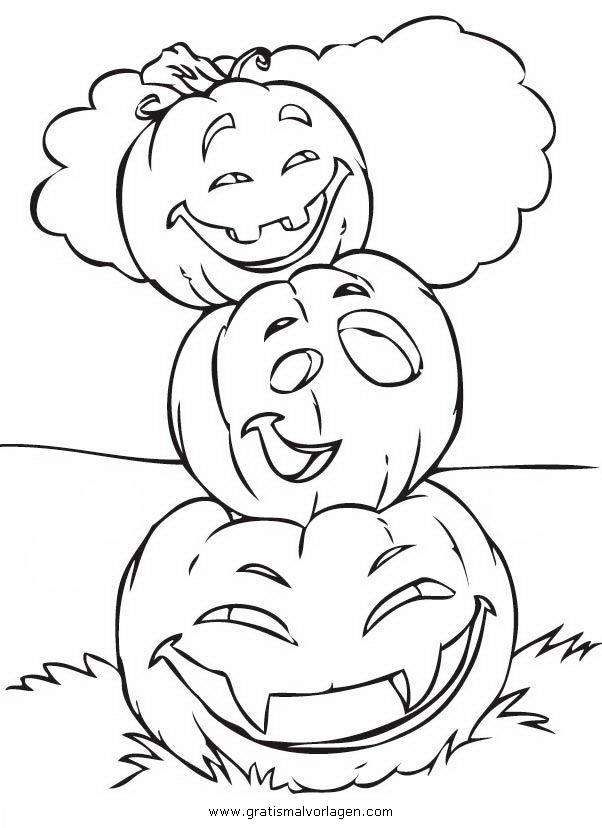 Ausmalbilder Herbst Kürbis: Halloween Kurbisse 27 Gratis Malvorlage In Halloween