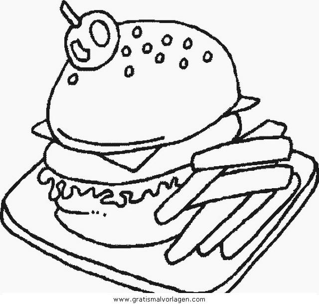 hamburger 20 gratis Malvorlage in Essen & Trinken, Lebensmittel ...