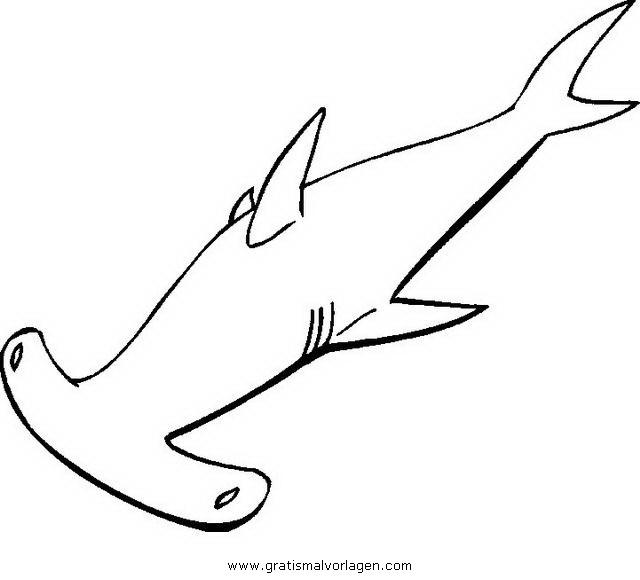 hammerhai 2 gratis Malvorlage in Fische, Tiere - ausmalen