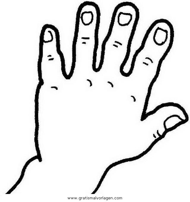 Hand 6 gratis Malvorlage in Diverse Malvorlagen, Körper - ausmalen