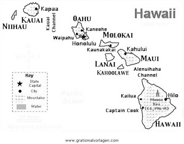 Landkarte Hawaii gratis Malvorlage in Geografie, Landkarten - ausmalen