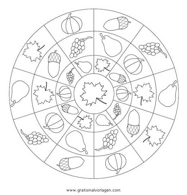 Herbstmandala Gratis Malvorlage In Geometrische Formen Spiele