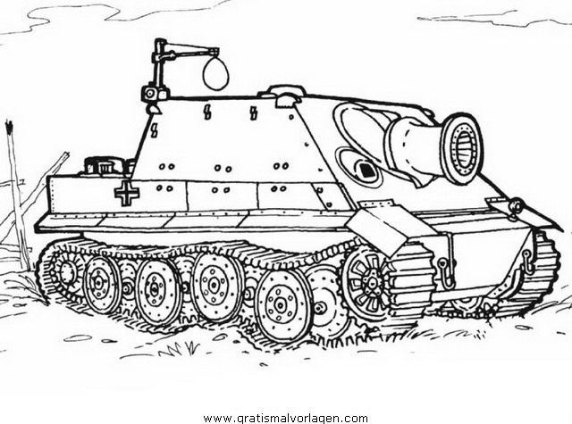 hummel panzer 14 gratis malvorlage in panzer