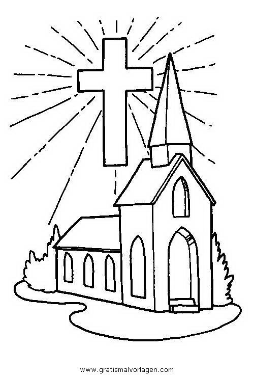 kirche 3 gratis Malvorlage in Diverse Malvorlagen, Häuser - ausmalen