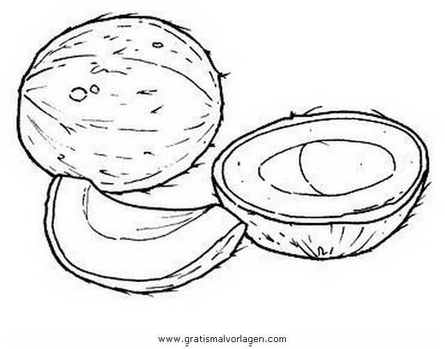 Kokosnuss 1 Gratis Malvorlage In Essen Trinken Früchte Ausmalen