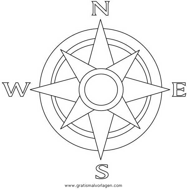 kompass 1 gratis Malvorlage in