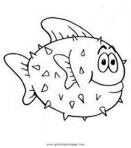 Kugelfisch 2 Gratis Malvorlage In Fische Tiere Ausmalen