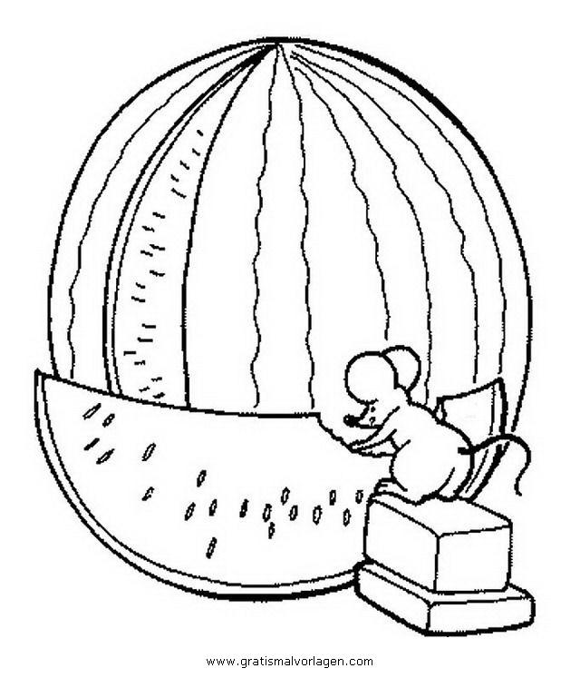 Melone 3 Gratis Malvorlage In Essen Trinken Fruchte Ausmalen