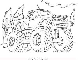 Monstertruck Gratis Malvorlage In Lastwagen Transportmittel Ausmalen