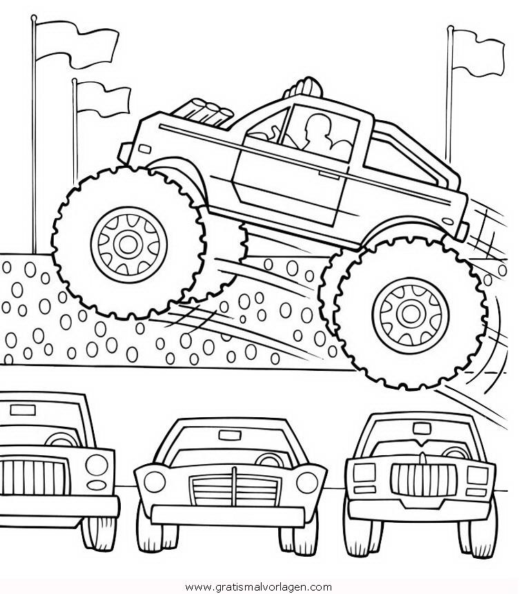Monstertruck 5 Gratis Malvorlage In Lastwagen Transportmittel Ausmalen