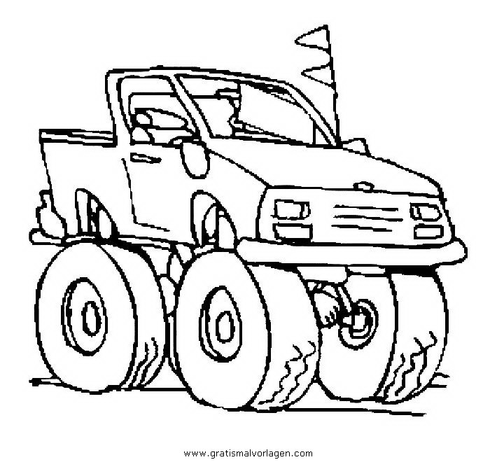 Monster Truck Crushing Cars Coloring Page Free