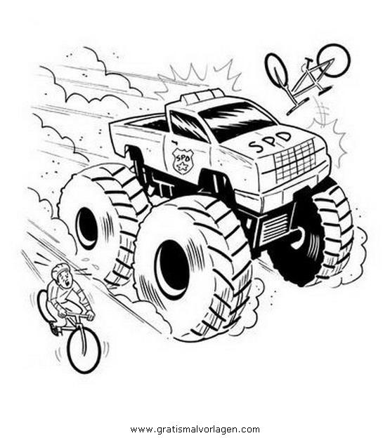 Monstertruck Monstertrucks 34 Gratis Malvorlage In Lastwagen Transportmittel Ausmalen