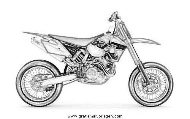 Motorcross 2 Gratis Malvorlage In Motorrad, Transportmittel - Ausmalen