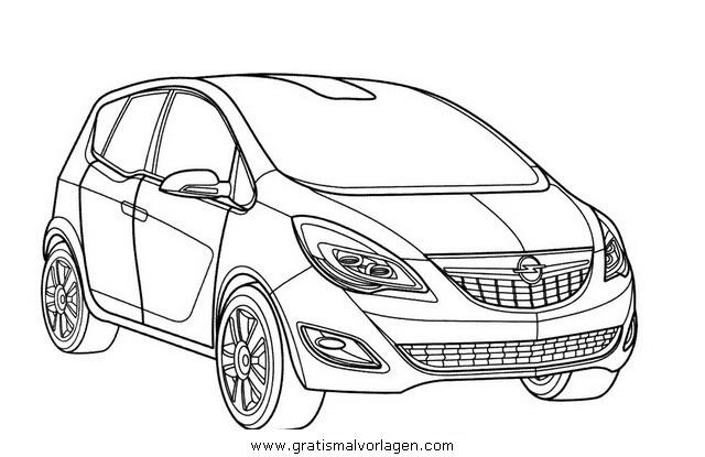 kleurplaten auto ford opel meriva gratis malvorlage in