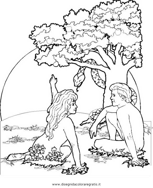 Adam & Eva Malvorlagen zum Ausmalen für Kinder -