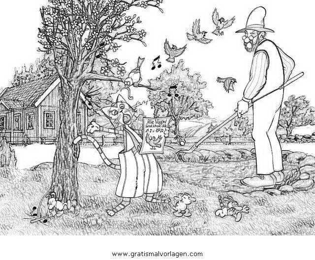 petterson findus 14 gratis malvorlage in comic trickfilmfiguren petterson und findus ausmalen. Black Bedroom Furniture Sets. Home Design Ideas