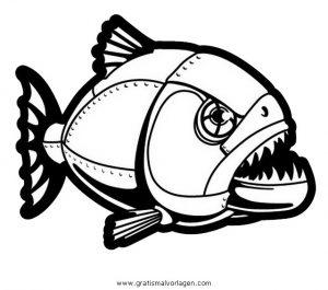 piranha 1 gratis Malvorlage in Fische, Tiere - ausmalen