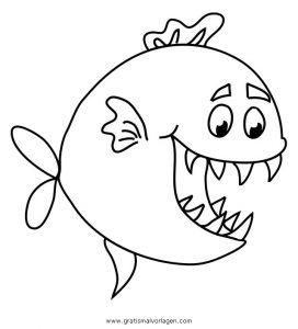 piranha 6 gratis malvorlage in fische, tiere - ausmalen