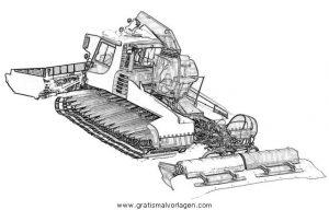 Pistenfahrzeug 3 Gratis Malvorlage In Baumaschinen Transportmittel