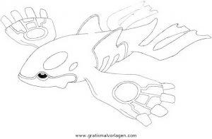 Pokemon Kyogre Gratis Malvorlage In Comic Trickfilmfiguren